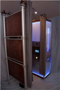 The enclosed booth you can rent from Flashworks Photobooth.