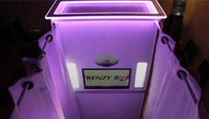 An enclosed booth rental available from Frenzy Booth.