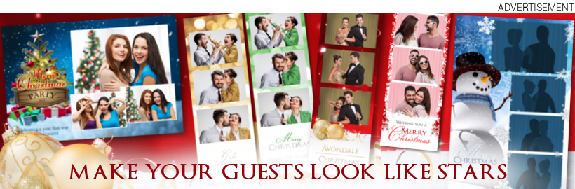 Professional photo booth template layouts and designs.